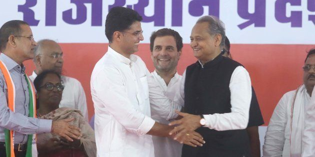 Congress President Rahul Gandhi with Sachin Pilot and Ashok