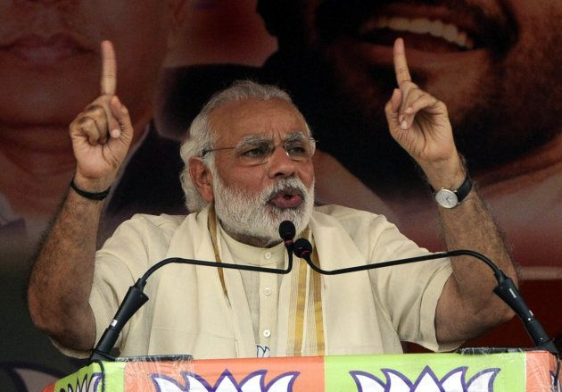 Prime Minister Narendra Modi addresses during a public rally for election campaign at Asansol, on April...