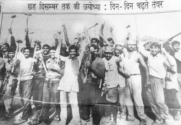 Image of the karsevaks en route to the Babri Masjid on 6, December 1992, published in a local newspaper...