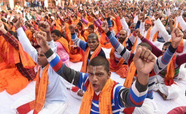 VHP saints taking part in Hindu Swabhiman Sammelan to mark 25th anniversary of Babri Masjid demolition, on December 6, 2017 in Ayodhya.