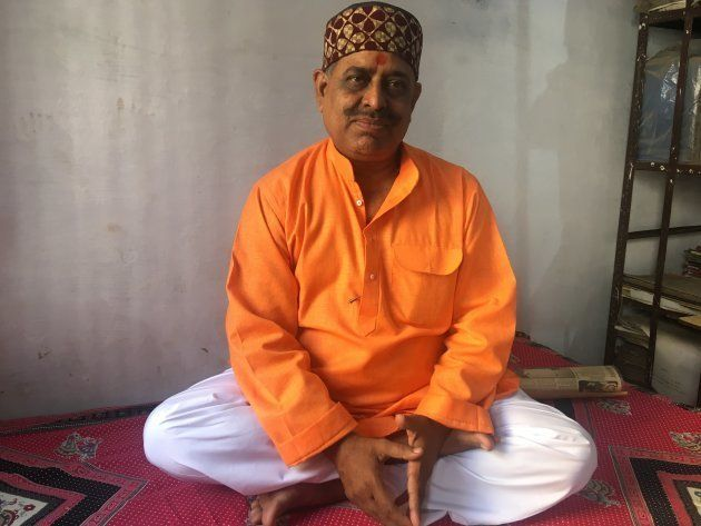 Santosh Dubey, a prime accused in the Babri demolition case, at his home in Ayodhya in November,