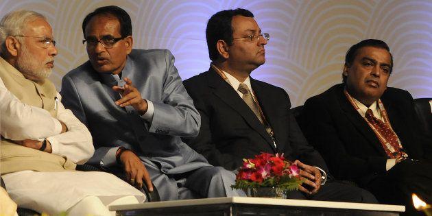 (From left) Prime Minister Narendra Modi, Madhya Pradesh Chief Minister Shivraj Singh Chouhan, former...