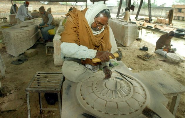 Artisans carve stone blocks for the proposed Ram temple in Ayodhya in January