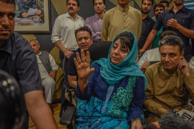 Mehbooba Mufti of the People's Democratic Party addresses media persons after the ruling Bharatiya Janata...