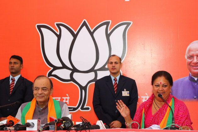 Union finance minister Arun Jaitley and Rajasthan chief minister Vasundhara Raje at the release of the...