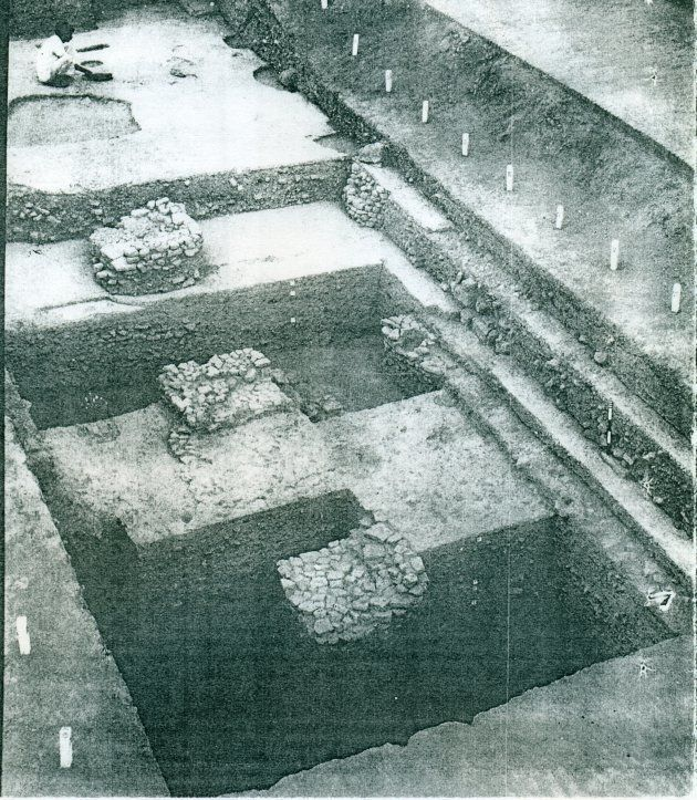 Pillar bases excavated by B.B. Lal