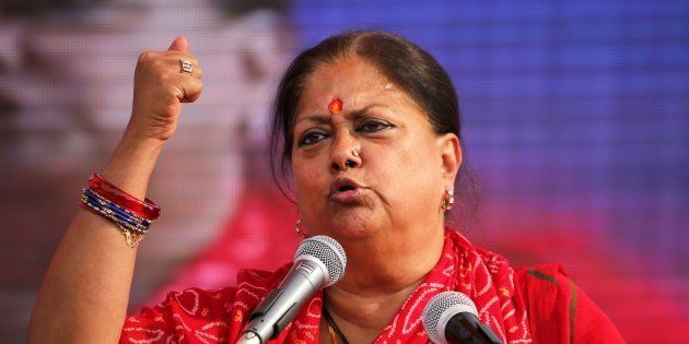 Rajasthan Chief Minister Vasundhara Raje speaks during an election rally on 4