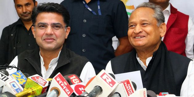Rajasthan Congress President Sachin Pilot (left) with former chief minister Ashok