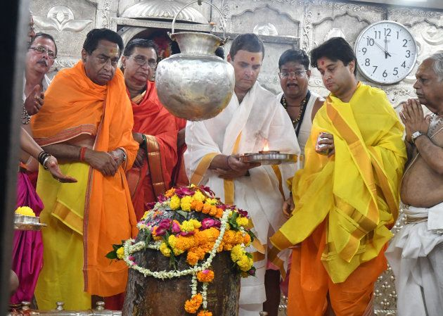 UJJAIN, INDIA - OCTOBER 29: Congress president Rahul Gandhi offers prayers at Mahakal temple on October...