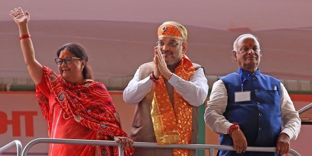 BJP President Amit Shah (Centre), former Rajasthan Chief Minister Vasundhara Raje (Left) with Rajasthan...