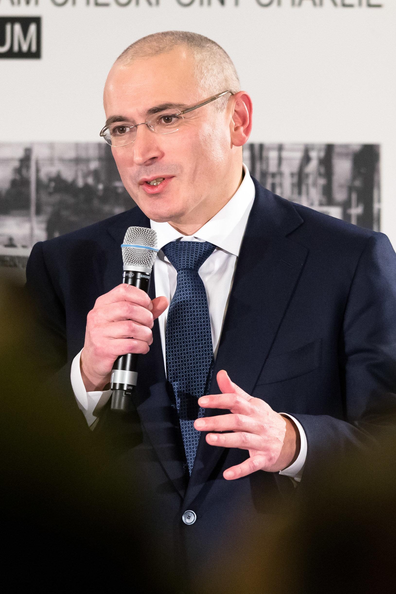 Putin-KritikerMichail Chodorkowskibei einer Pressekonferenz in Berlin.