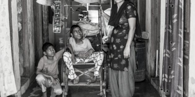Every day, Umesh's mother would carry him to the street corner where he sold