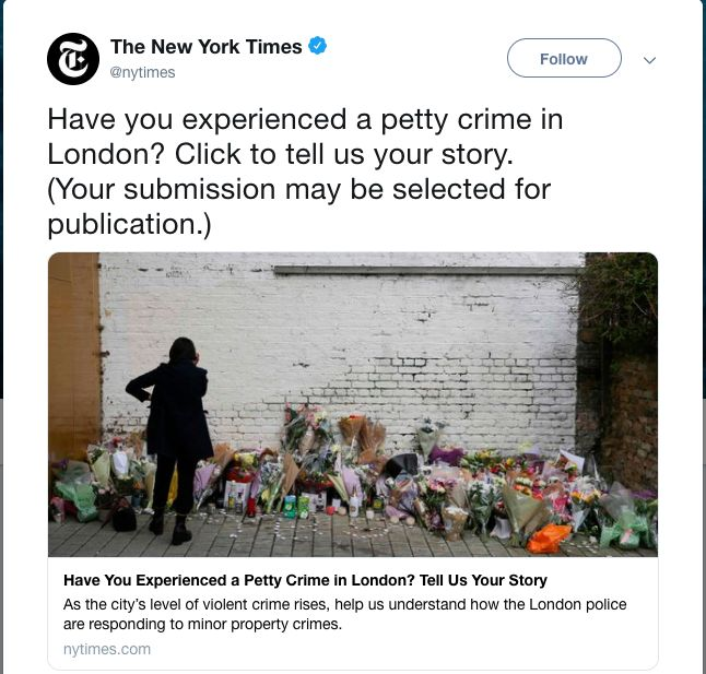 The New York Times Asked For Londoners' Experiences Of Petty Crimes And Boy Did They