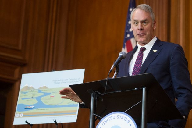 Interior Secretary Ryan Zinke speaks at a press conference at the Environmental Protection Agency's headquarters...