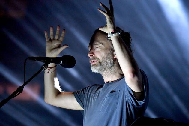 Thom Yorke, chanteur de Radiohead, lors d'un concert du groupe à New York,