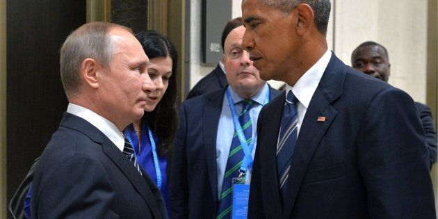 The photo of Russian President Vladimir Putin, left, meeting U.S. President Barack Obama on the sidelines of the G20 summit in China on Monday that's become a viral sensation.