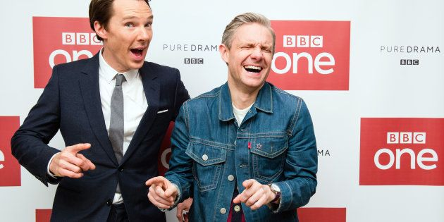 LONDON, ENGLAND - DECEMBER 19:  (L-R) Benedict Cumberbatch and Martin Freeman attend a screening of the Sherlock 2016 Christmas Special at Ham Yard Hotel on December 19, 2016 in London, England.  (Photo by Jeff Spicer/Getty Images)