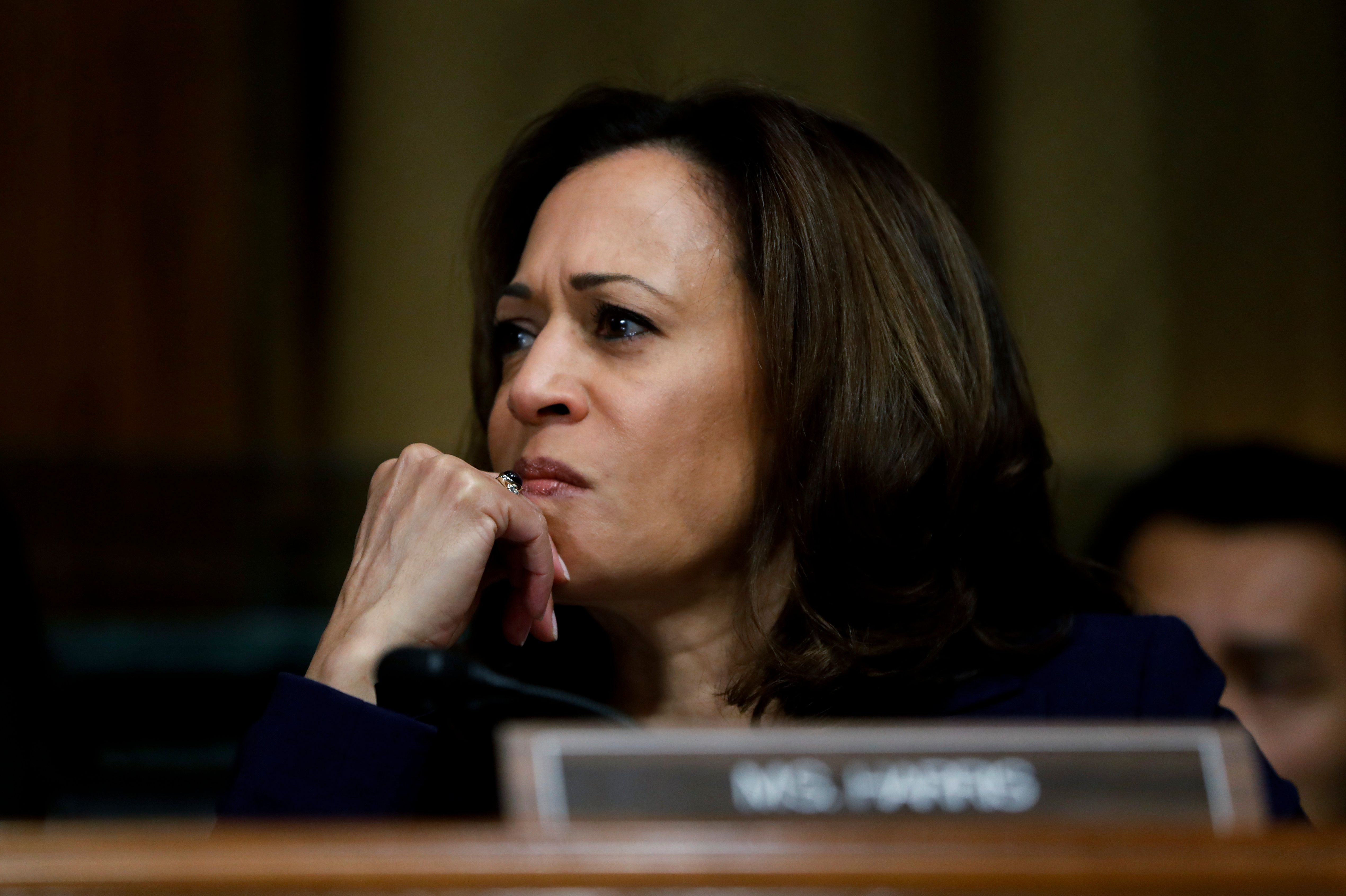FILE - In this Sept. 28, 2018, file photo, Sen. Kamala Harris, D-Calif. attends a Senate Judiciary Committee meeting on Capitol Hill in Washington. Their campaigns are not yet official, but some Democrats are beginning to frame the 2020 fight on their terms. (AP Photo/Pablo Martinez Monsivais, File)