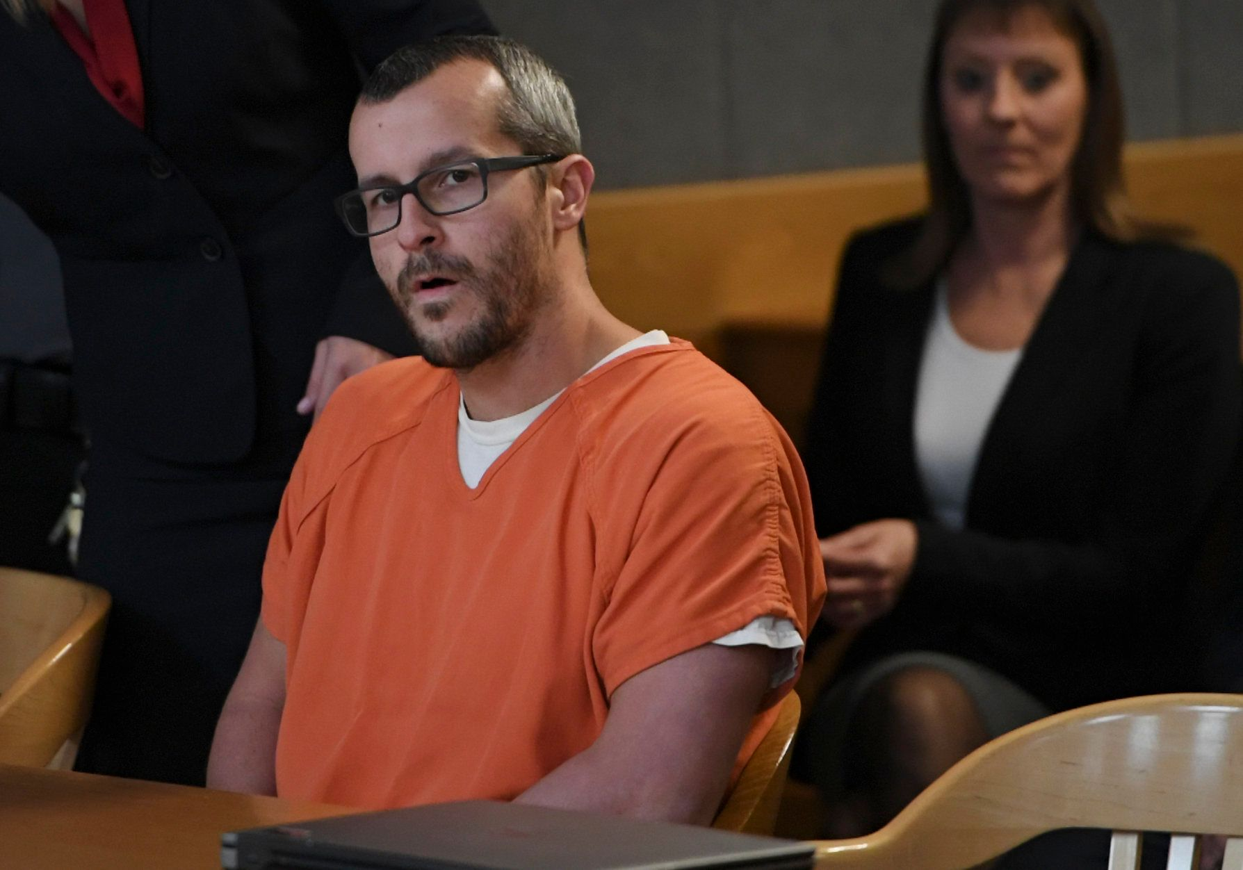 GREELEY CO - NOVEMBER 19: Christopher Watts sits in court for his sentencing hearing at the Weld County Courthouse on November 19, 2018 in Greeley, Colorado. Watts was sentenced to life in prison for murdering his pregnant wife, daughters. (Photo by RJ Sangosti/The Denver Post via Getty Images)