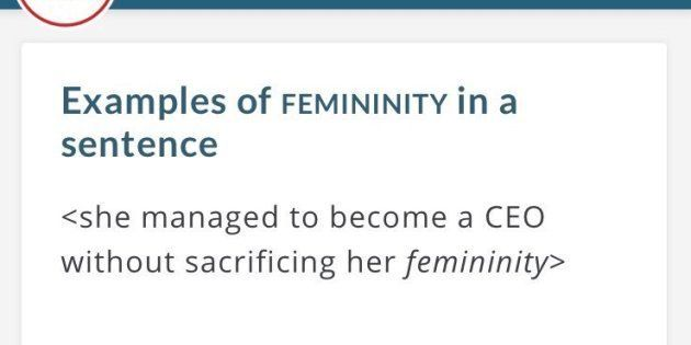 Merriam-Webster's previous example of how to use 'femininity' in a sentence.