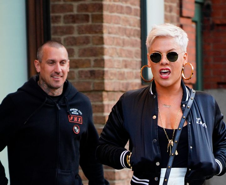 Carey Hart and Pink step out together in New York City in April.