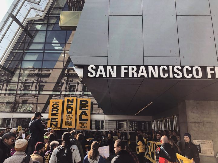 The Sunrise Movement demonstration in San Francisco, where protestors called for a Green New Deal.