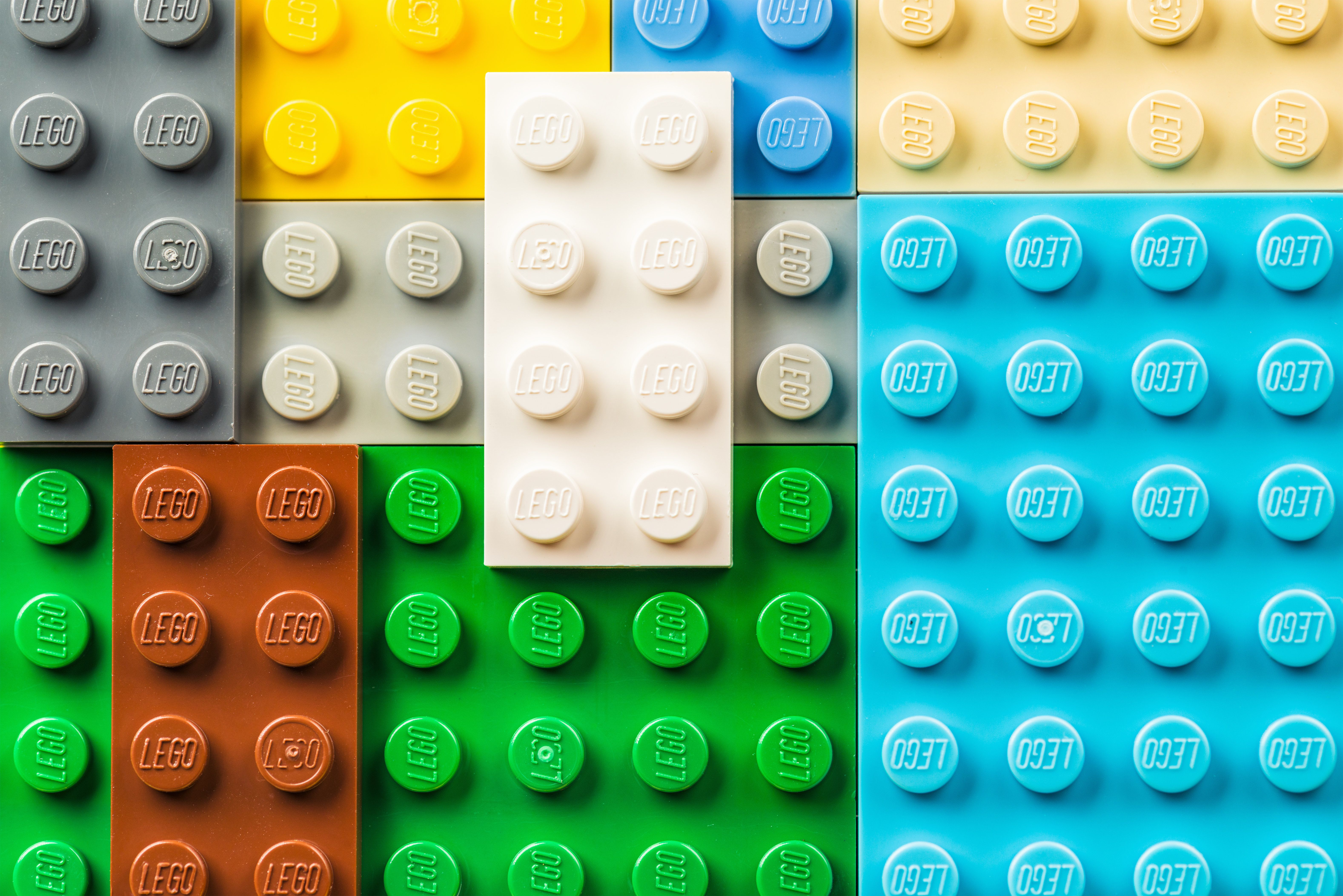 Edinburgh, UK - February 19, 2016: A macro image of Lego pieces arranged together. Lego branding is visible on each raised circle.