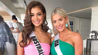 Australia's Miss Universe entry, Francesca Hung, with Miss USA Sarah Rose Summers (Photo: Francesca Hung via Instagram)