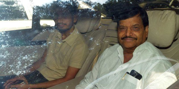 Samajwadi Party leader Shivpal Yadav with his son Aditya Yadav. September 14, 2016. (Photo by Sonu Mehta/Hindustan...