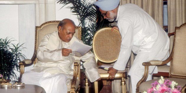 PV Narasimha Rao with Manmohan Singh. (Photo by Prashant Panjiar/The India Today Group/Getty