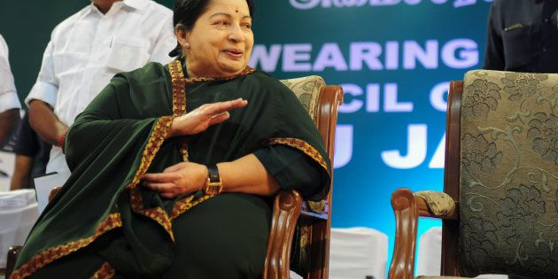Jayalalithaa Jayaram, leader of All India Anna Dravida Munnetra Kazhagam (AIADMK), takes part in a swearing-in...