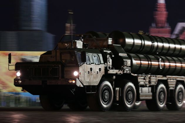 An S-400 Triumf surface-to-air launch vehicle rolls down Moscow's Red Square during a