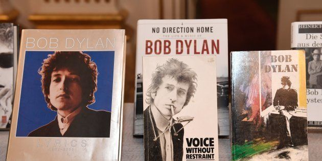Books by Bob Dylan, who was announced the laureate of the 2016 Nobel Prize in Literature, are displayed...