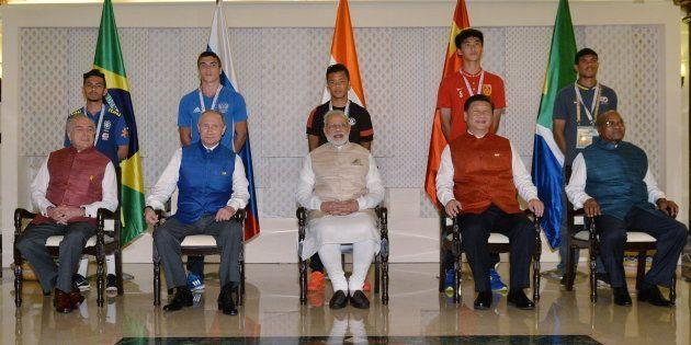 GOA, INDIA - OCTOBER 15, 2016: Brazil's President Michel Temer, Russia's President Vladimir Putin, India's...