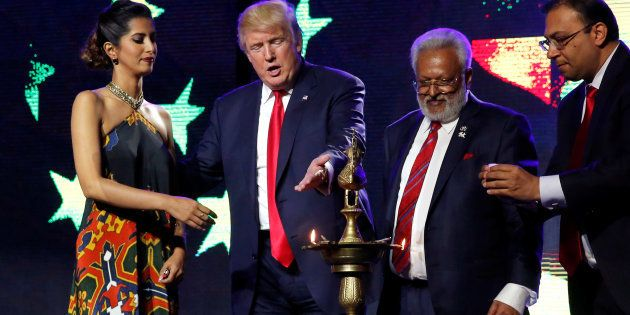 Republican presidential nominee Donald Trump (second from the left) enlists the help of Republican Hindu...