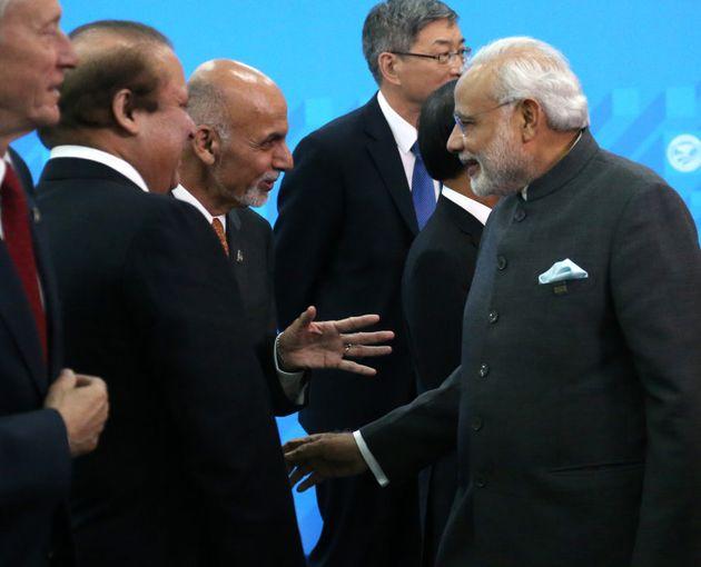 Pakistan's Prime Minister Nawaz Sharif, Afghan President Mohammad Ashraf Ghani and Indian Prime Minister...