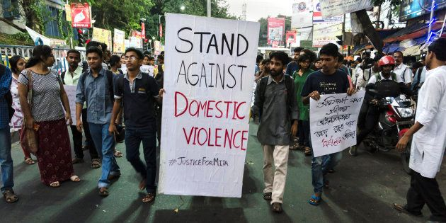 KOLKATA - 2016/10/17: A protest by the students of Jadavpur University against domestic violence on women...