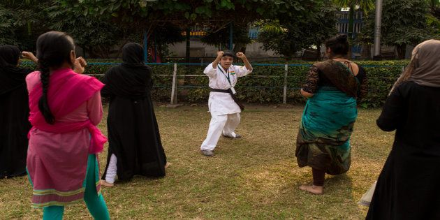 Ayesha leading the training session for girls in Ladies Park,
