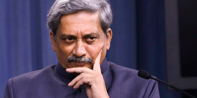 Defence Minister Manohar Parrikar during a news conference at the Pentagon on 29 August 2016. (AP Photo/Jacquelyn