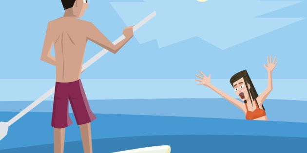 Lifeguard rescues drowning woman - colorful vector cartoon