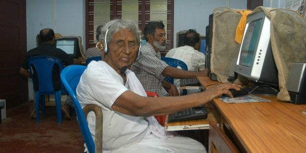Rosakutty, 106 years old at literacy class, Kothad in Ernakulam district, Kerala ( Computer Class, old...