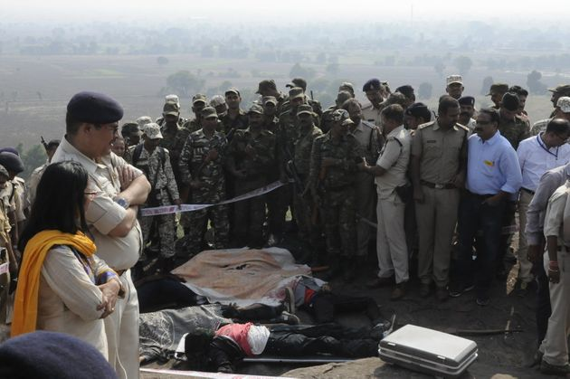 Body of SIMI terrorists killed in an encounter lying on ground at Acharpura on October 31, 2016 in