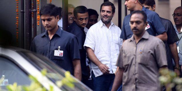 Congress Vice President Rahul Gandhi leaves Mandir Marg Police Station on November 2, 2016 in New Delhi,