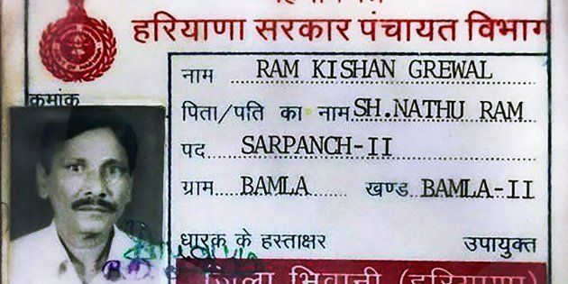 Identity card of 70-year-old ex-serviceman Ram Kishan Grewal who allegedly committed suicide over One...