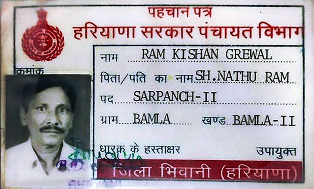 New Delhi: **File** Identity card of 70-year-old ex-serviceman Ram Kishan Grewal who allegedly committed...