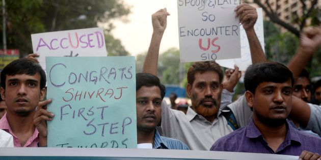 Student Islamic Organization of India protest against the encounter of eight jail break SIMI activist...
