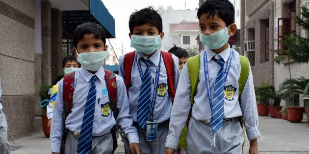School students have started wearing face masks to school after pollution levels increased after Diwali...