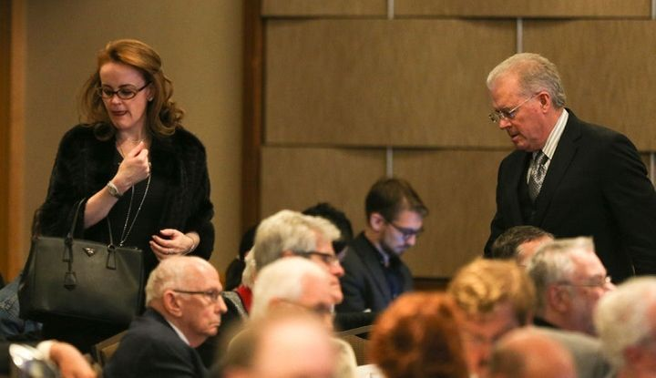 Billionaires Robert Mercer and his daughter Rebekah attend a conference on climate change hosted  by The Heartland Institute