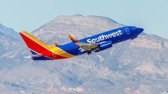 Las Vegas, NV, USA- November 3, 2014: Boeing 737 Southwest Airlines takes off from McCarran International Airport in Las Vegas, NV on November 3, 2014. Southwest is a major US airline and the world's largest low-cost carrier. It is the largest operator of the 737 worldwide.