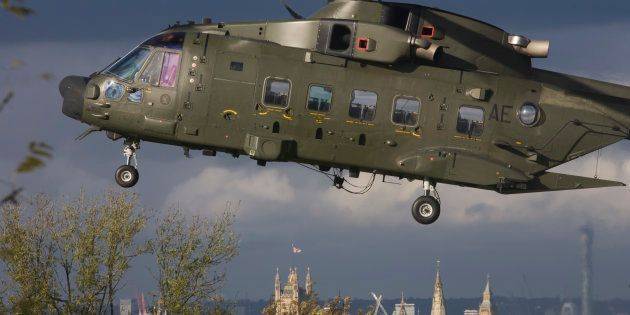 An AgustaWestland AW101 makes a controlled landing in a south London public